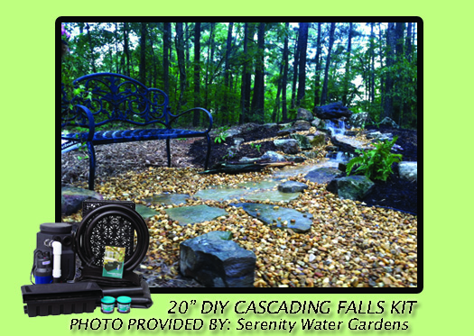 "Cascading Falls, Pondless waterfall, waterfall, 20"" DIY Cascade Kit"