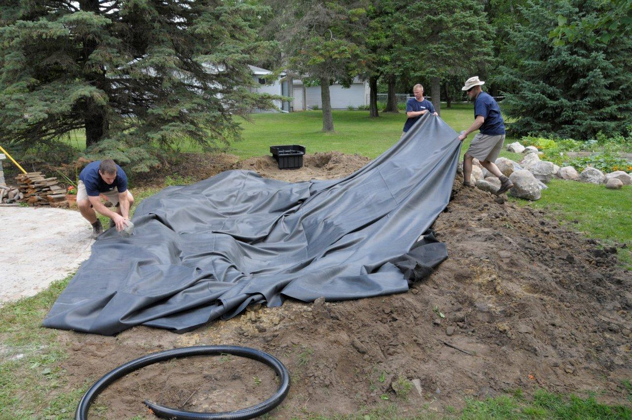 Fish safe pond liner vs roofing liner for Fish pond installers
