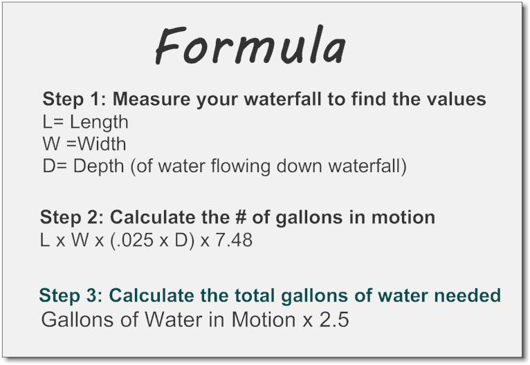 Calculate waterfall water  volume