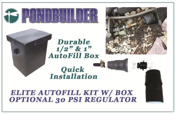 PondBuilder Auto Fill Kit, Water levelor, psi regulator, fill valve, Elite Autofill Kit