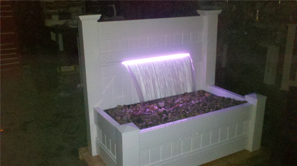 Each Patio Waterfall comes with an IR Remote which enables viewers to control the rotating or still colors of the LED light strip. Light transcends down the waterfall making a great night-time water feature for your patio or deck.