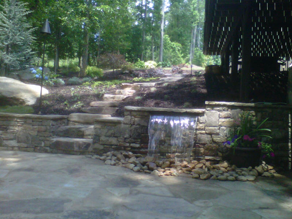 Notice how much more attractive your walkway and patio space can be with the addition of water. Imagine how lovely this patio sounds.