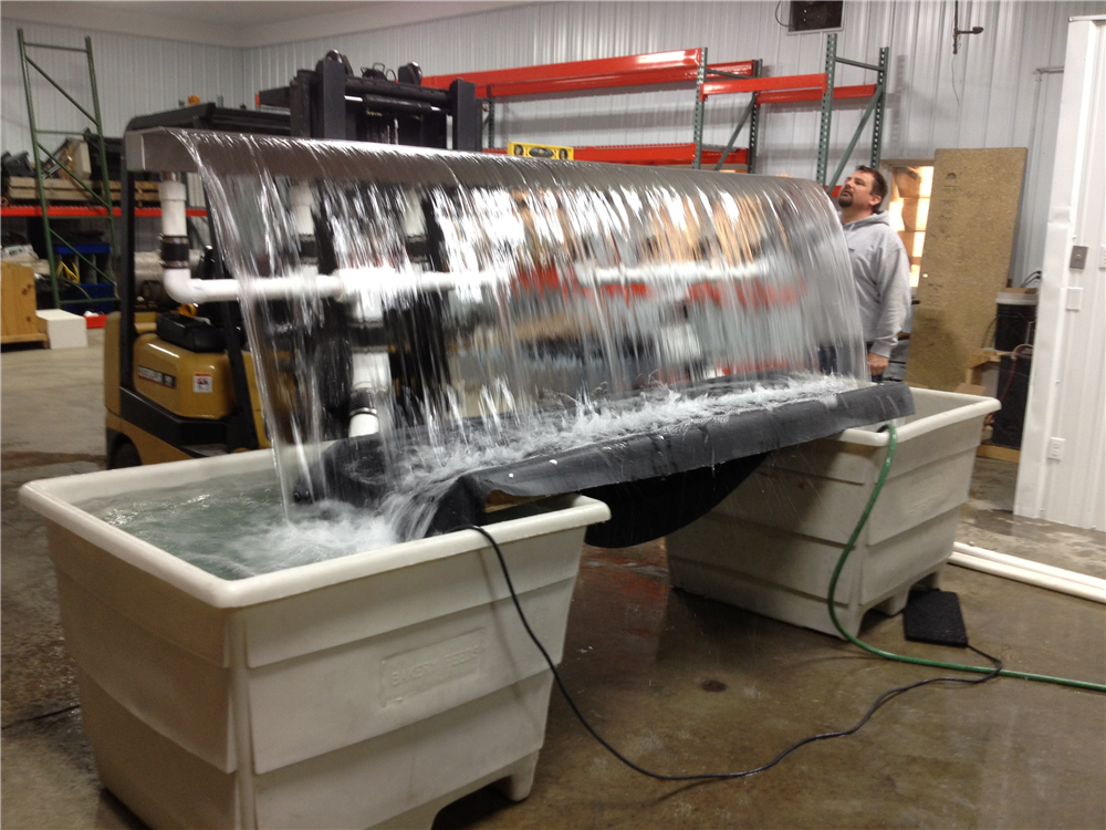 During our R&D we test all custom Formal Falls orders to make sure we deliver the results our clients expect. This is a 12ft Formal Falls with approx. 12,000gph of flow.